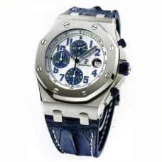 "Audemars Piguet ""NAVY"" THEMES ROYAL OAK OFFSHORE STAINLESS STEEL ON STRAP"